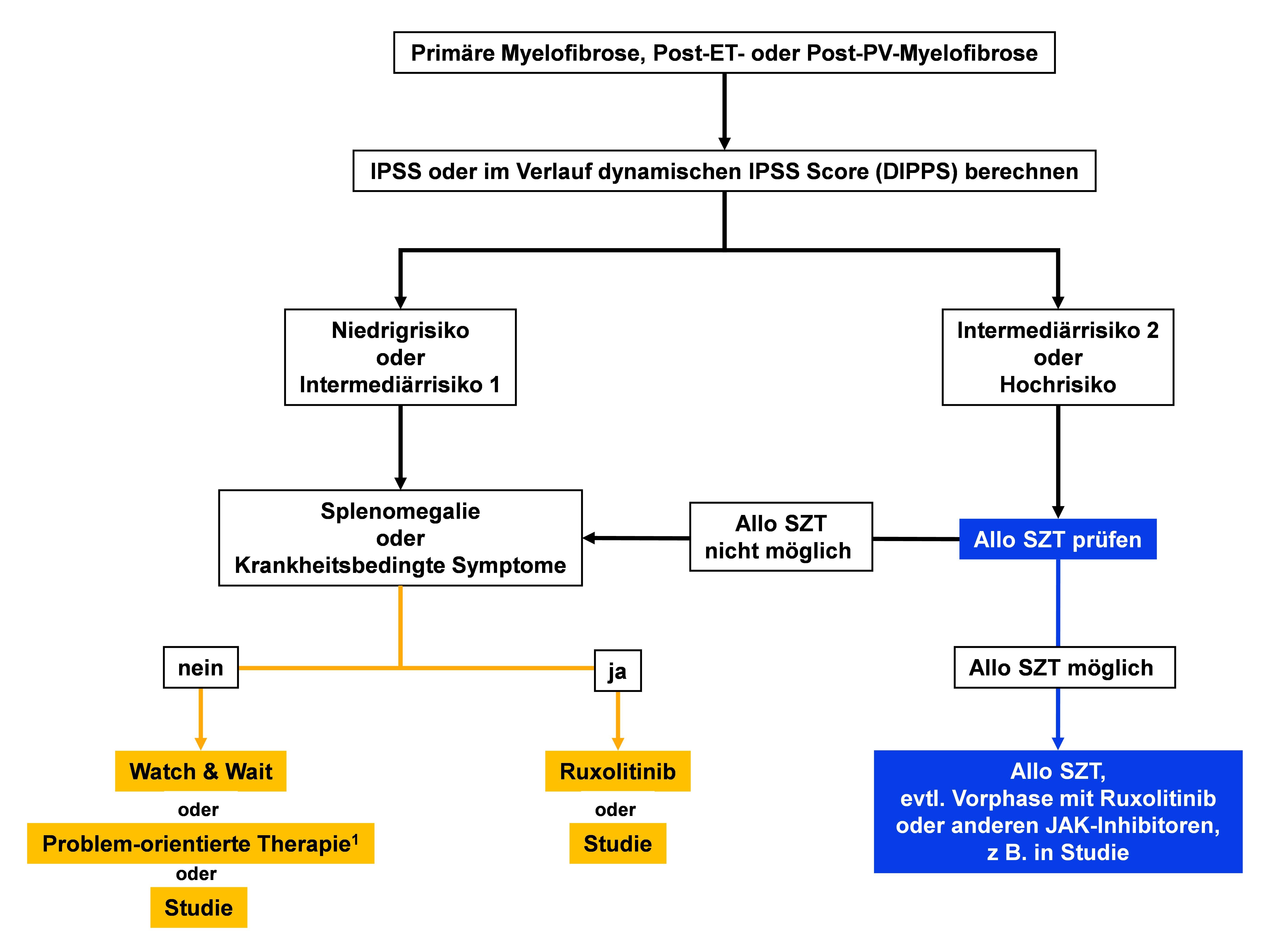 Therapiestruktur von Primärer Myelofibrose (PMF), Post-ET- oder Post-PV-Myelofibrose