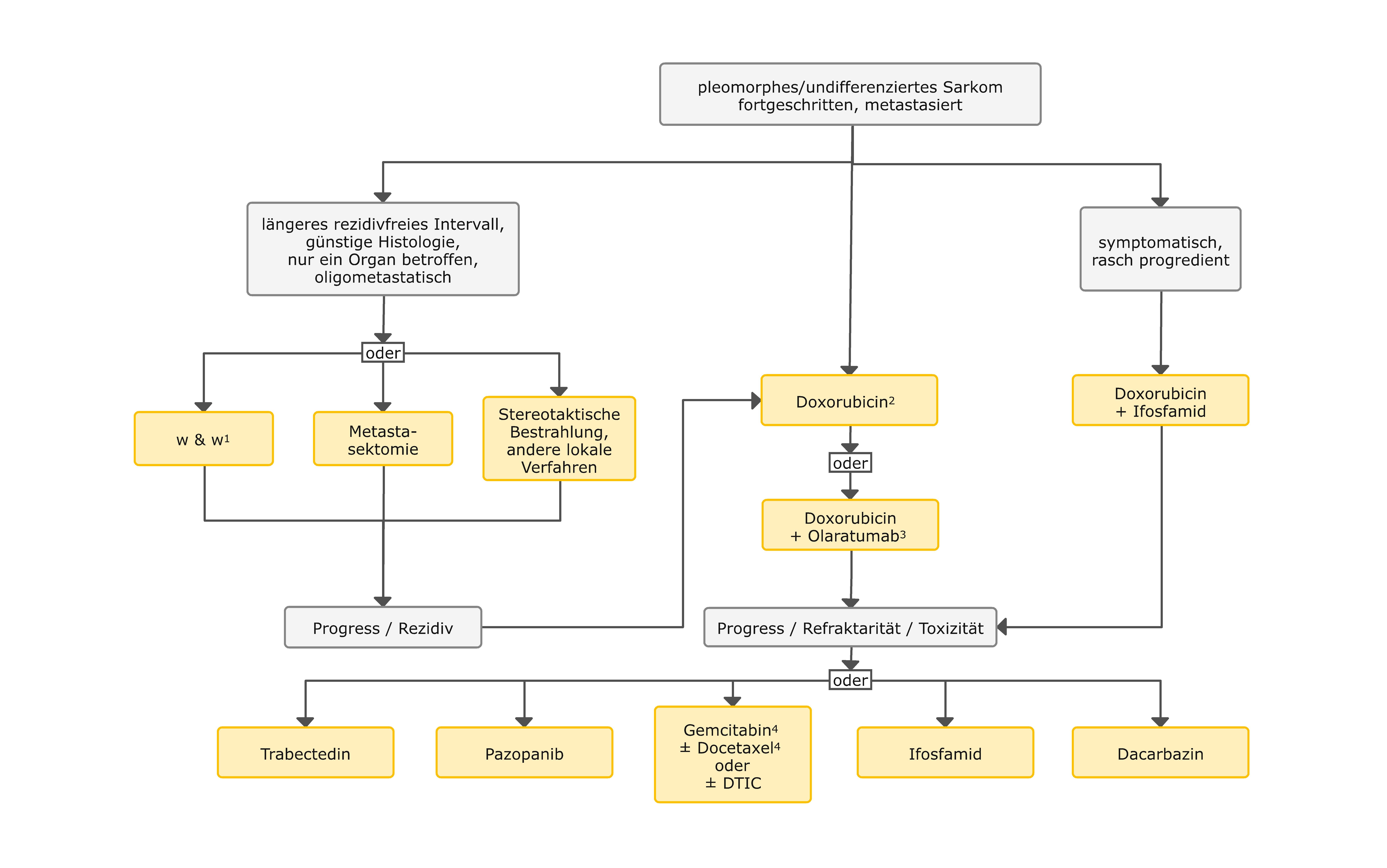 Therapiealgorithmus beim undifferenzierten pleomorphen / nicht klassifizierbaren Sarkom