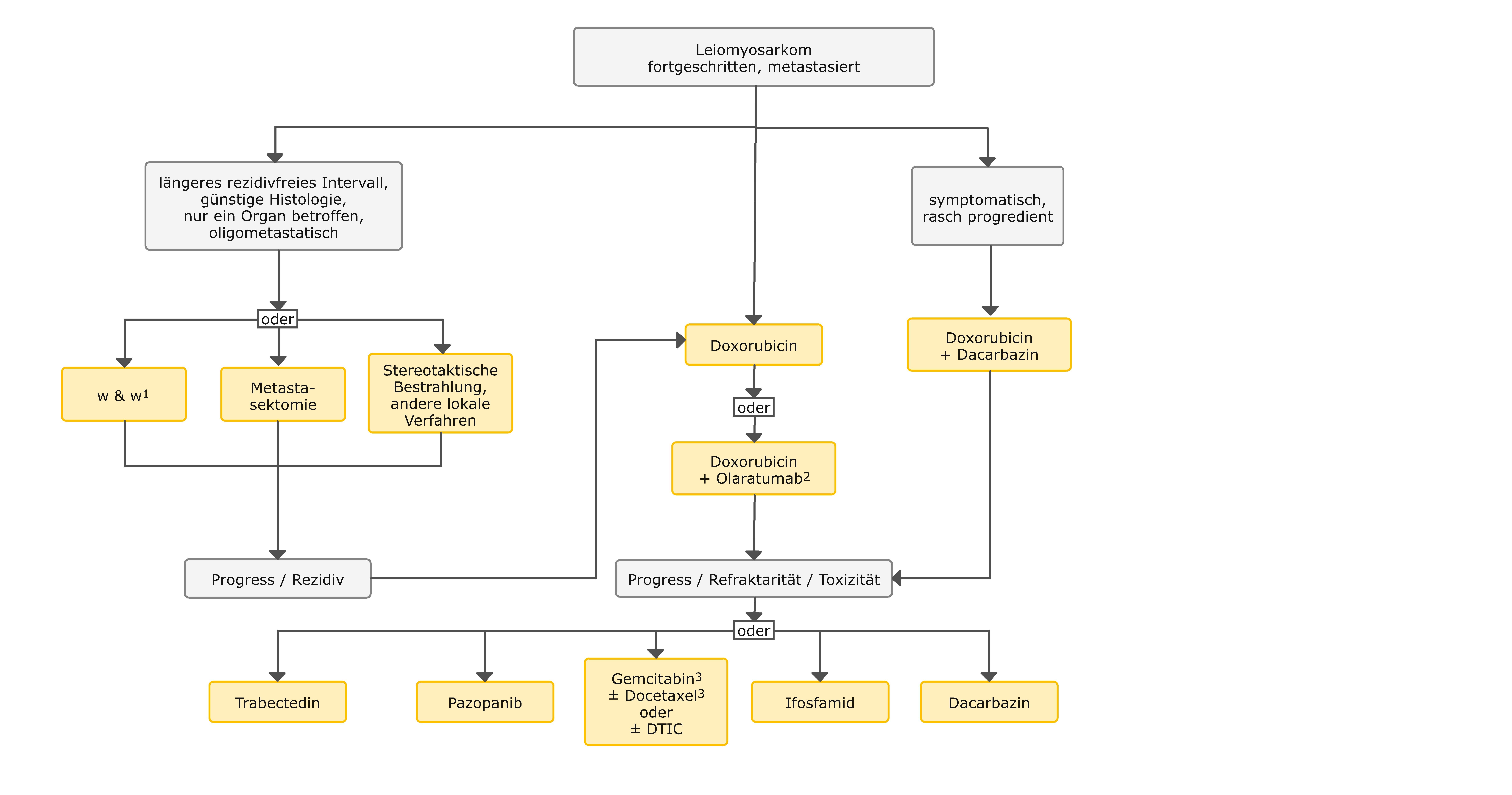 Therapiealgorithmus beim fortgeschrittenen Leiomyosarkom