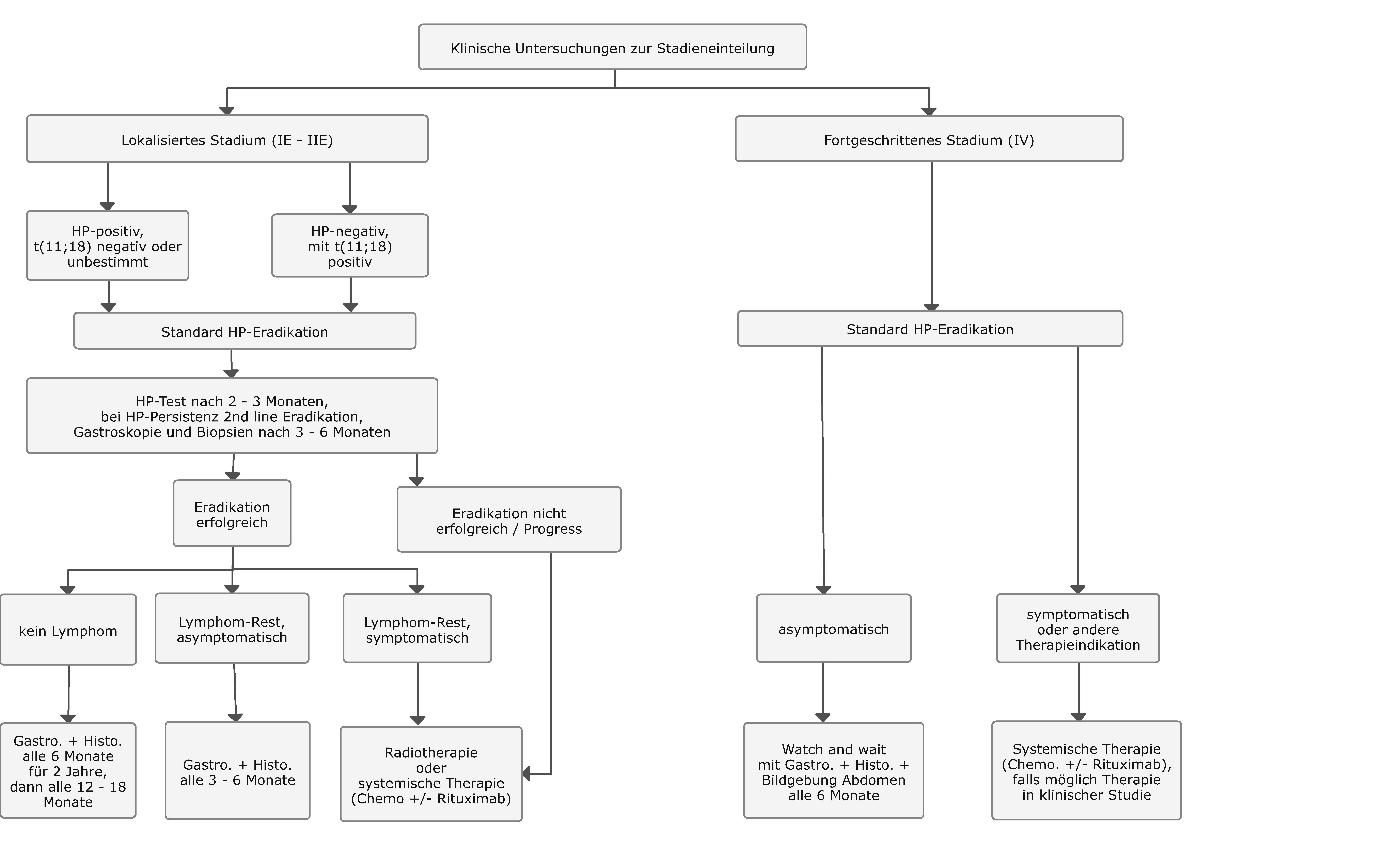 Therapiealgorithmus beim extranodalen Marginalzonen-Lymphom des Magens